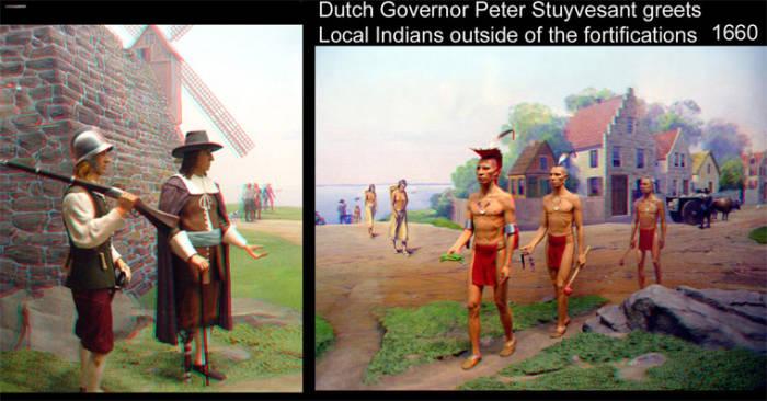 Новинка - стереоизображение: одноногий губернатор Нового Амстердама встретил индейцев за пределами городской стены (той самой, в честь которой потом назвали Уолл-стрит) под прикрытием одного спецназовца