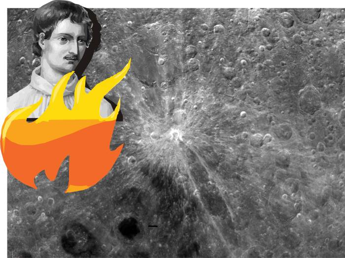 Jordano Bruno on the Moon Джордано Бруно огонь кратер