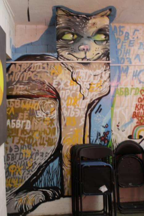 А вот такого замечательного кота можно было увидеть внутри арт-базы vitebsk4me