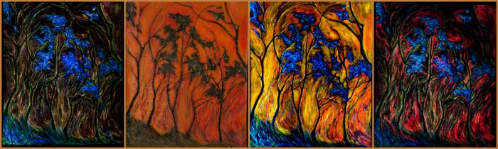 """Картина """"Волшебный лес"""" при разном освещении (свет, ультрафиолет, без специального освещения)."""