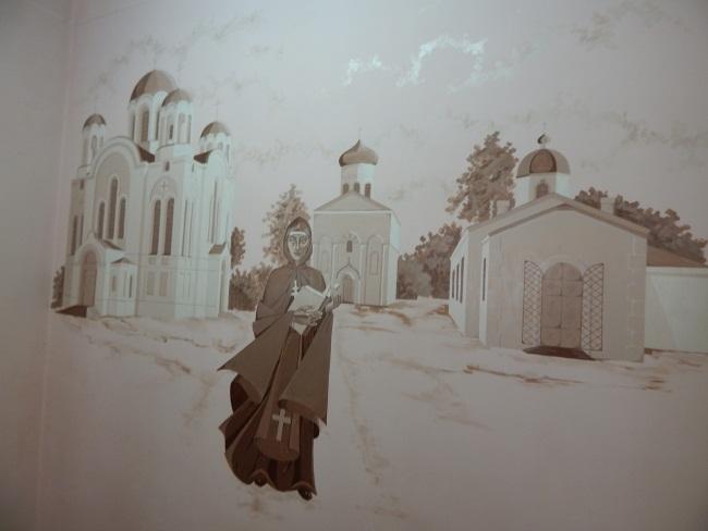 Роспись на стене библиотеки.