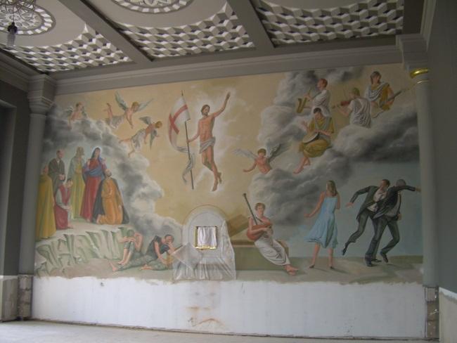 Роспись на стене храма.