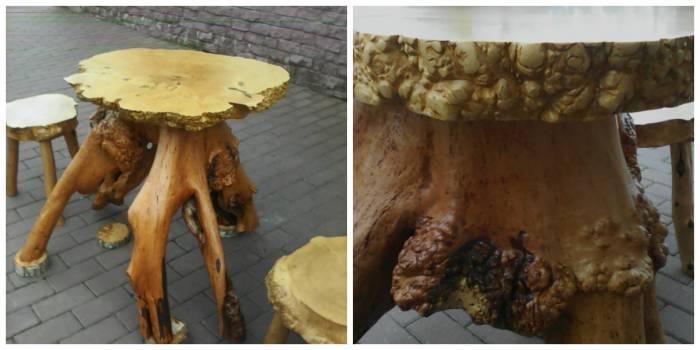 Фото слева - была коряга - теперь столовый гарнитур. Фото справа - бывшая коряга вблизи