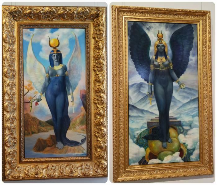 """На выставке было представлено две картины с изображением ключевой богини египетского пантеона Изиды: """"Изида"""" и """"Изида. Зима"""". Интересно заметить, что после христианизации все языческие боги стали восприниматься исключительно в негативном аспекте. Изида - одна из основных богинь, культ которой преследовался в Средние века как """"ведьмовской"""". Два изображения Изиды наталкивают на мысль об изначальном образе богини и ее переосмысленном с христианской позиции аспекте."""