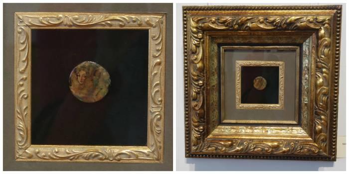 """Картина """"Лесная нимфа"""". На фотографии справа можно видеть ее реальный размер"""