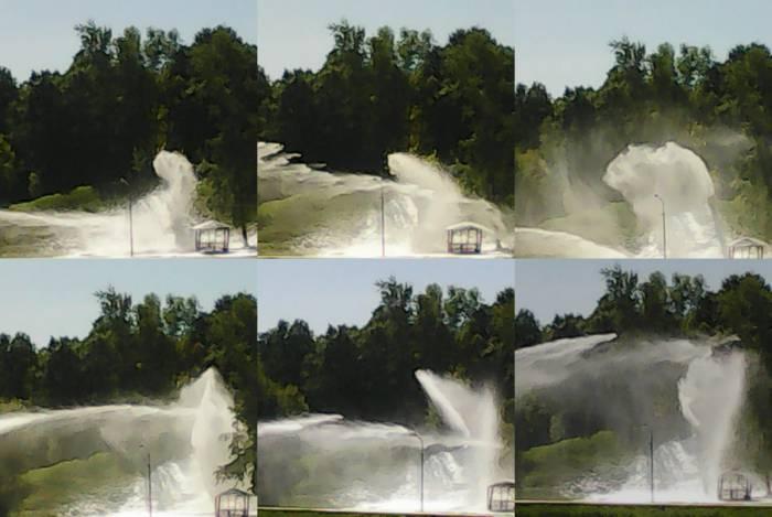 Причудливые водные пируэты, образовавшиеся вследствие виртуозного обращения с водометом
