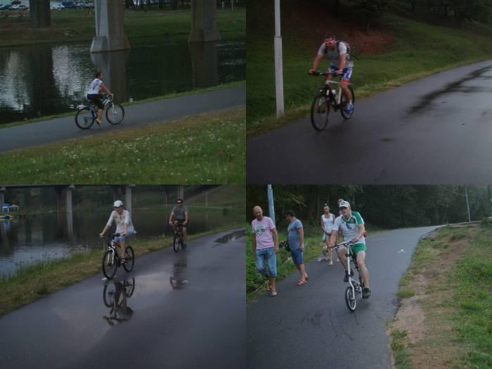 В парке Фрунзе много велосипедистов разного пола и возраста