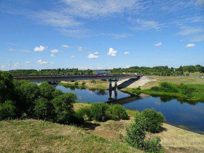 Вид с городища на Копыский мост через Днепр