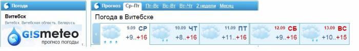 Такая погода ожидает нас на этой неделе по прогнозам сайта gismeteo.by
