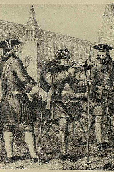 Офицер, бомбардир и фузелер артиллерийского полка 1712-1720 годов. Рисунок А.И. Вильборга