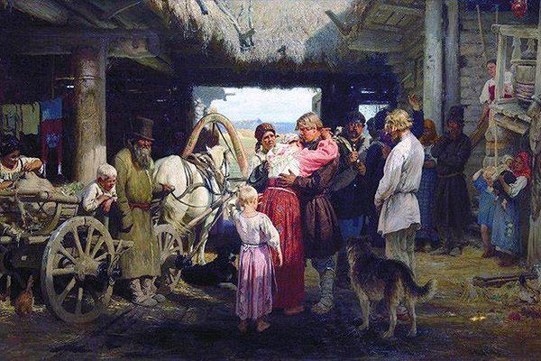Проводы новобранца». Художник И. Репин