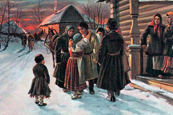 Прощание рекрута с родителями». Художник И.М. Львов