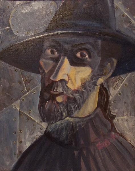 А. Досужев. Автопортрет на железном фоне. 1990 г.