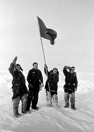 Папанинцы на Северном полюсе. Источник:wikimedia.org