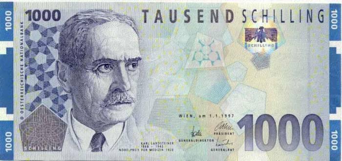 Банкнот в 1000 австрийских шиллингов. Фото: e-allmoney.ru