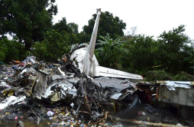 The scene of a cargo airplane that crashed after take-off near Juba Airport in South Sudan November 4, 2015. REUTERS/Stringer