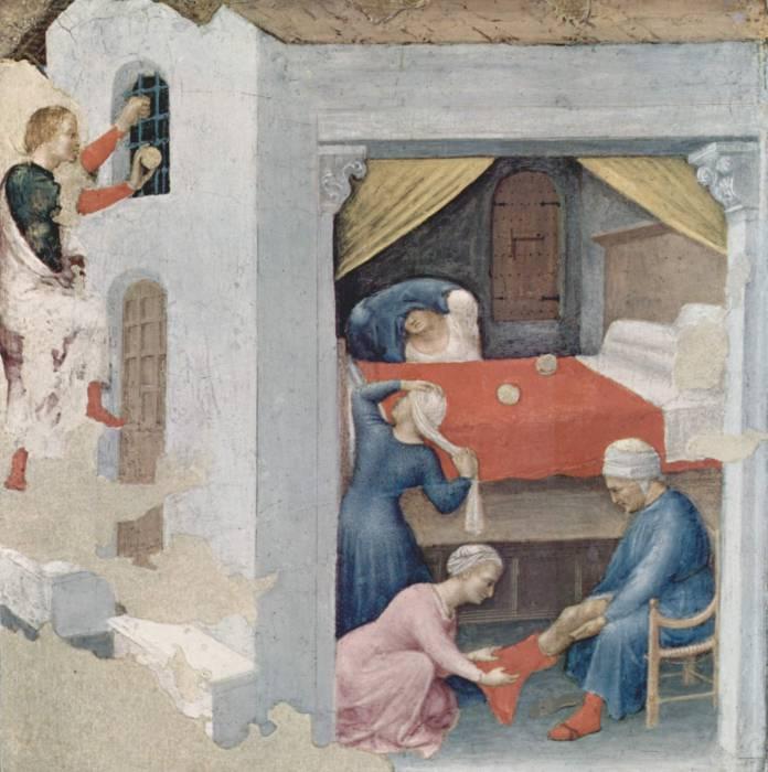 Святой Николай подбрасывает золото для девиц. Источник ru.wikipedia.org