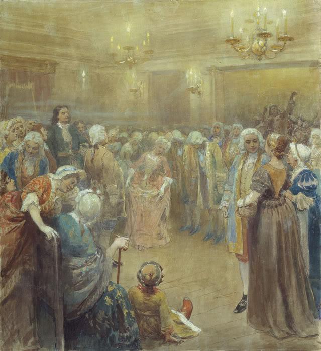 К.В.Лебедев Бал-ассамблея при дворе Петра Первого