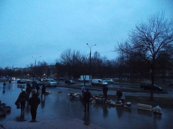 Вид на импровизированный рынок и автобусную остановку, возле которых было зафиксировано происшествие