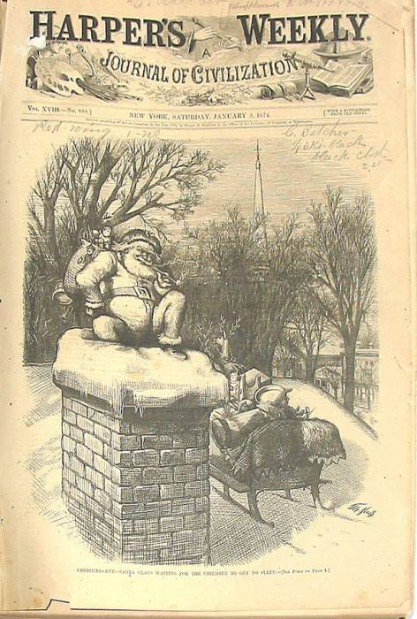"Обложка журнала ""Harper's Weekly"" за 1874 год. ""Канун Рождества. Санта в ожидании, пока дети заснут"". Источник materinstvo.ru"