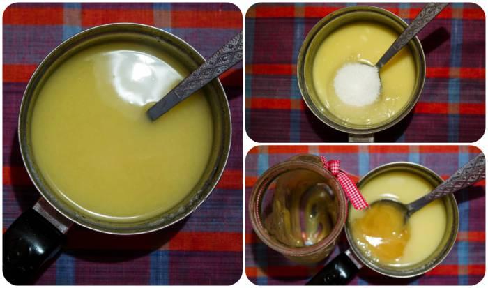 Шаг 3 Вносим сахар и мед в растопленный маргарин. В результате получаем однородную желтую массу