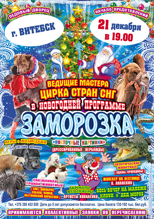 Цирковое шоу «Заморозка». Фото: philharmonic.vitebsk.by