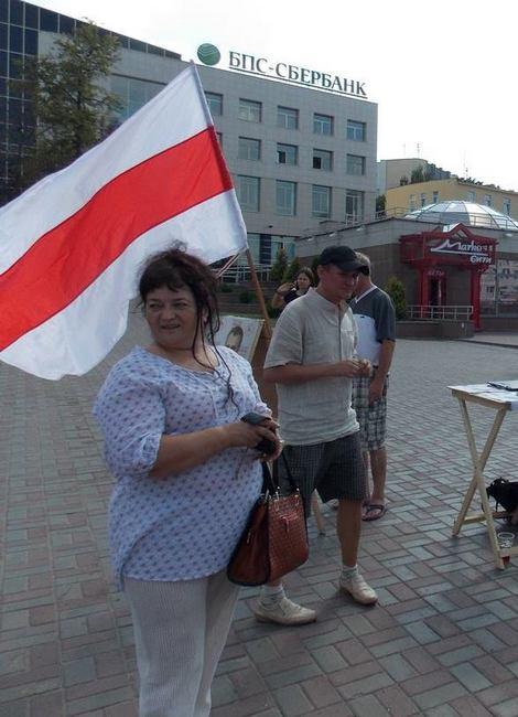 Ирина Яскевич во время подписной кампании за выдвижение кандидатов в президенты РБ. Август, 2015 г.