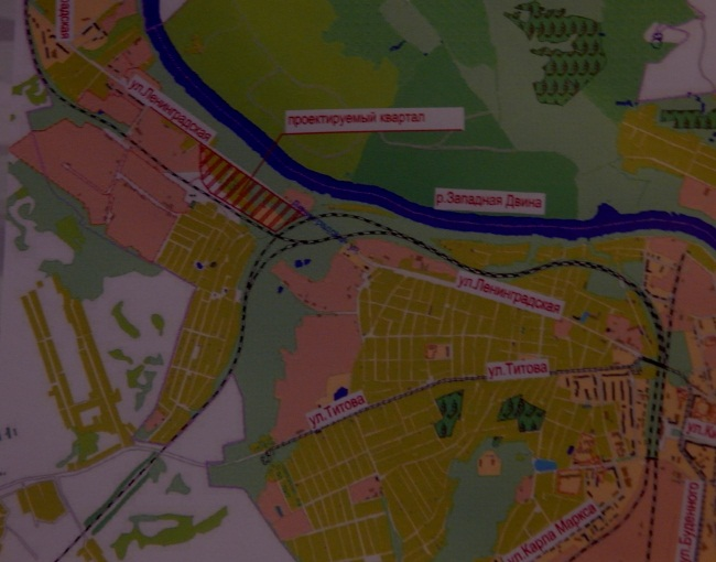 Проектируемый квартал на карте города