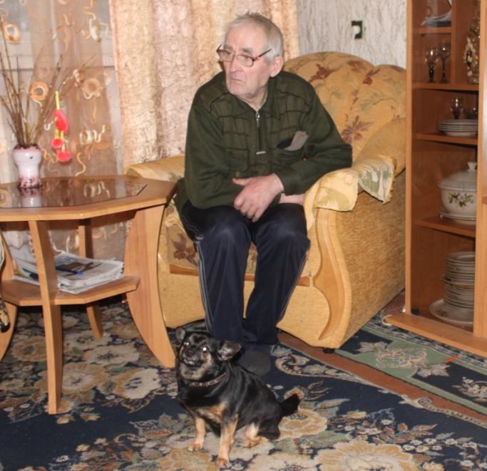 дедушка, собака
