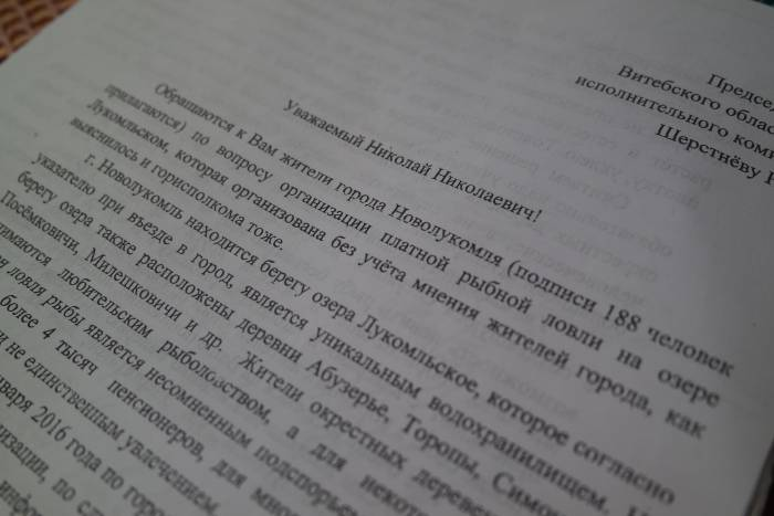 Письмо жителей Новолукомля в Витебский облисполком. Фото Анастасии Вереск