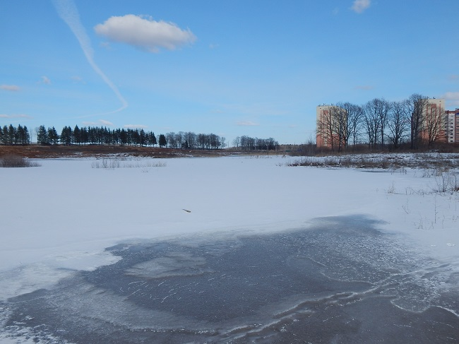 билево, пляж, зимнее озеро