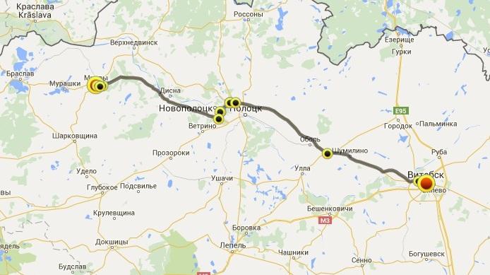 карта, Витебск-Миоры