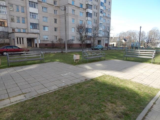 лавочка, скамейка, двор на терешковой