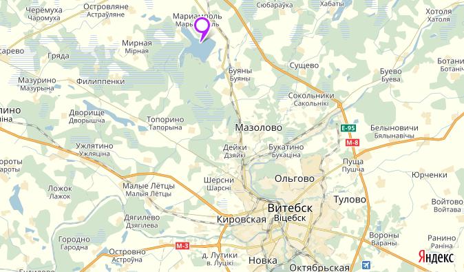 Дорога на озеро Лосвидо. Источник: Яндекс Карты