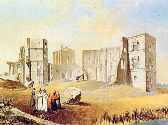 """Картина Ю. Пешки """"Замок в Смолянах"""". В конце XVIII века """"Белый Ковель"""" уже стоит в руинах"""