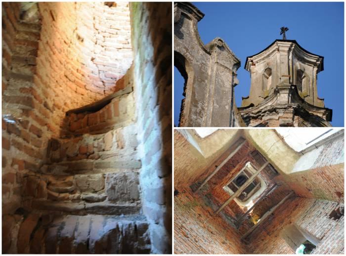Фрагменты: лестница в стене, колокольня и остатки креста. Фото Анастасии Вереск
