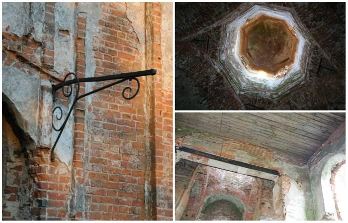 Фрагменты церкви святого Алексия: остатки кованых украшений, купол и деревянный потолок. Фото Анастасии Вереск