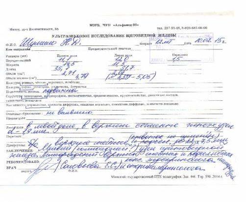 Результаты обследования в Минском диагностическом центре. Фото из личного архива С. Гречулиной