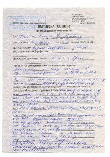 Результаты УЗИ-обследования из Витебска, где написано, что у Никиты все в порядке. Фото из личного архива С. Гречулиной