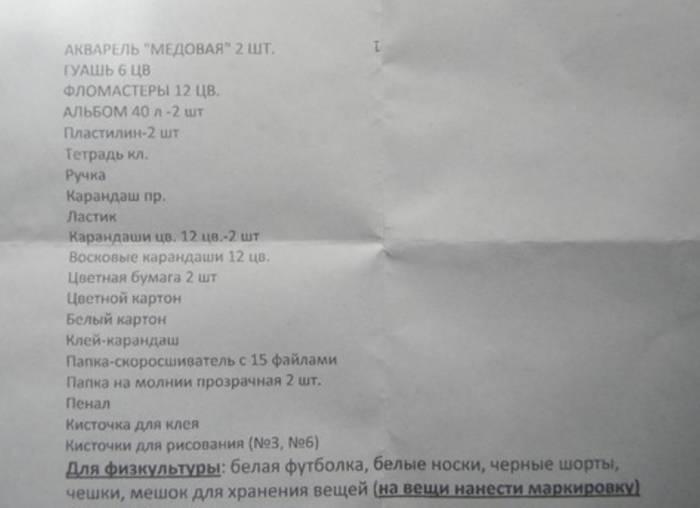 Список необходимой канцелярии. Фото forums.drom.ru