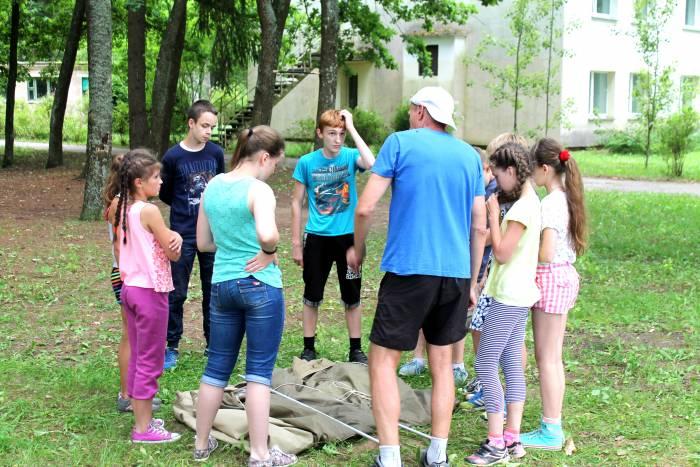 лагерь, дети, лес, спорт