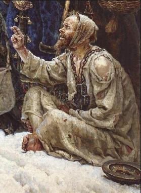 фрагмент картины Сурикова Боярыня Морозова