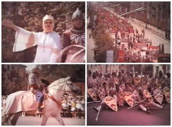 """Так выглядел парад, посвященный Дню города на его тысячелетие. Кадры из фильма """"Город моей судьбы"""" (1974), коллаж автора"""