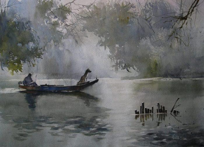 Карпан, акварель, пейзаж, Корженевский