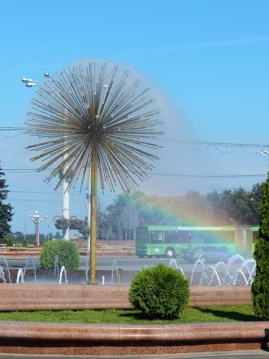 фонтан площадь победы, радуга
