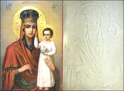 Прихожане молятся не только иконе Богоматери, но и нерукотворному образу на стекле. Фото predtecha.kiev.ua