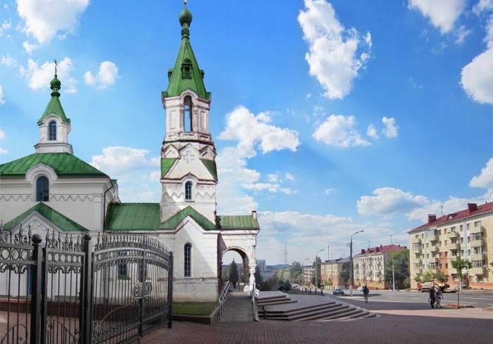 Церковь Иоанна Предтечи. Фотопроекция Виктора Борисенкова