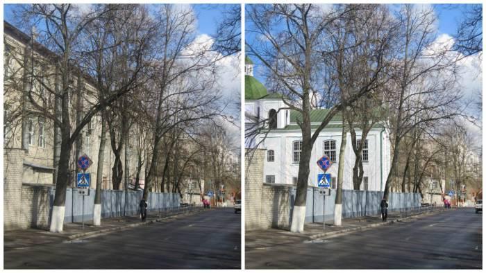 Как выглядел бы Пиарский костел на фоне современной застройки по улице Комсомольская. Фотопроекция Виктора Борисенкова