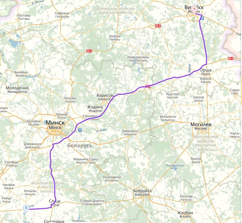 маршрут Витебск деревня Семежево Копыльского района