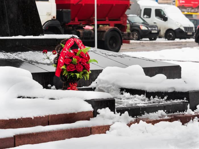 цветы к памятнику Ленину 7 ноября 2016